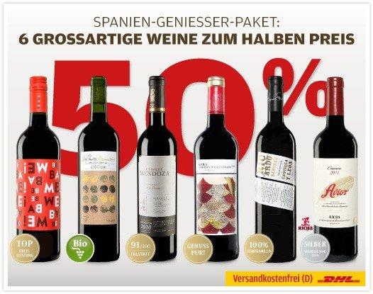 7 Flaschen (vernünftigen) spanischen Rotwein für 29,00 inkl. Versand bei Vinos.de