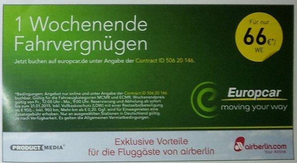 Europcar Mietwagen übers Wochenende für 66€