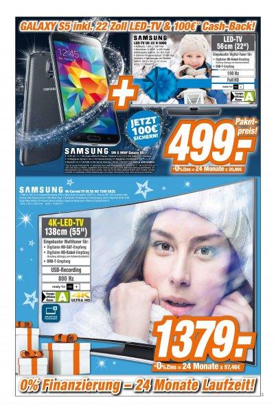 [Lokal] Expert Klein Samsung UE22 H5000 TV + Samsung Galaxy S5 Bundle für 499€ (100€ Cashback)