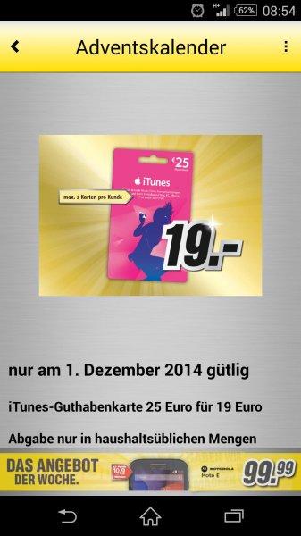 MediMax Gera iTunes Guthabenkarte 25 € für nur 19 €