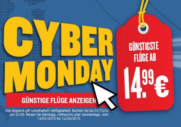 Ryanair Cyber Monday - Flüge für nur 14,99€ (Reisezeitraum: Januar - März)