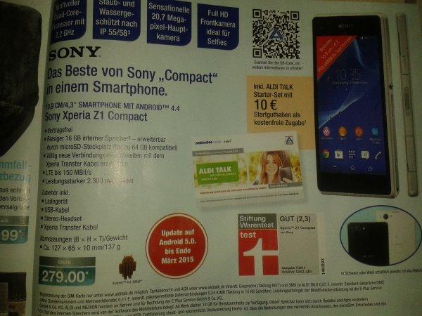 Sony Z1 Compact ab 4.12. Aldi Nord 279,-Euro