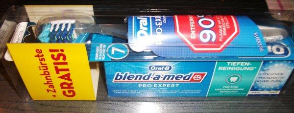 Oral B blend a med  Pro Expert Zahncreme + Gratis  Oral B Zahnbürste für  0,99 € bei Müller oder 1,25 € bei Rossmann