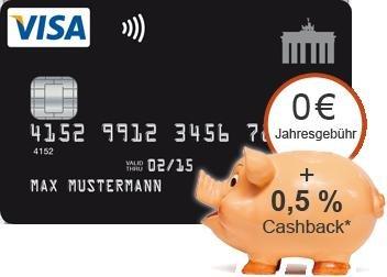 """Kostenlose VISA Card """"Deutschland Kreditkarte"""": Bis 28.02.2015 0,5% Cashback, vorerst nur für Neukunden"""