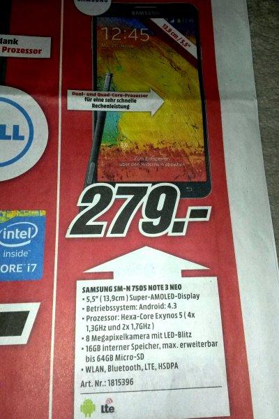(Lokal MM Plauen) Samsung Galaxy Note 3 Neo LTE (5,49 Zoll) schwarz 279€