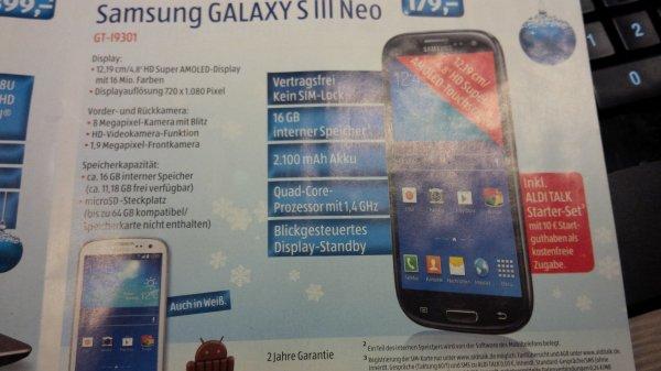 [Aldi Süd, ab 11.12] Galaxy S3 Neo (schwarz und weiß) mit 10Euro AldiTalk Starter-Set