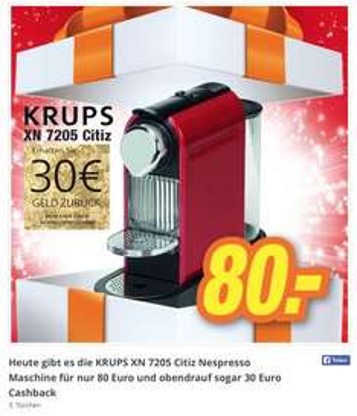 Krups Nespresso Maschine für 80 € PLUS 30 € Cashback (lokal)