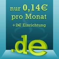 Adventskalender .de Domain für 0,14 € pro Monat.