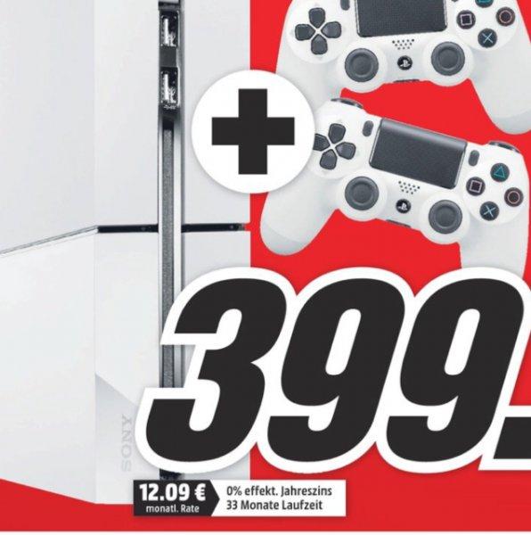 Ps4 weiß mit 2 Controller für 399 bei Media markt