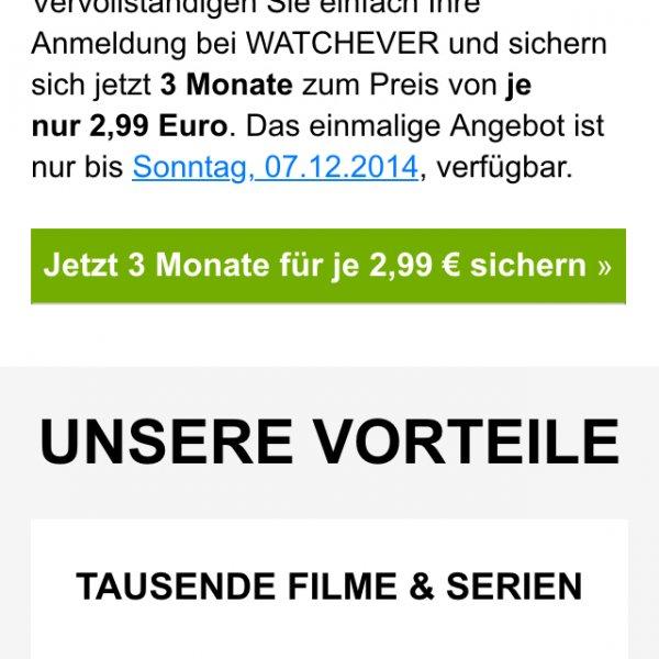 3 Monate Watchever für 2,99€
