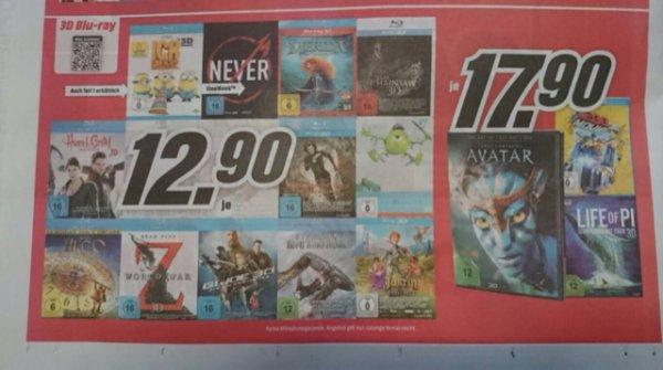 [Media Markt Offline + Online] Zahlreiche 3D-Blu-rays ab 12,90€