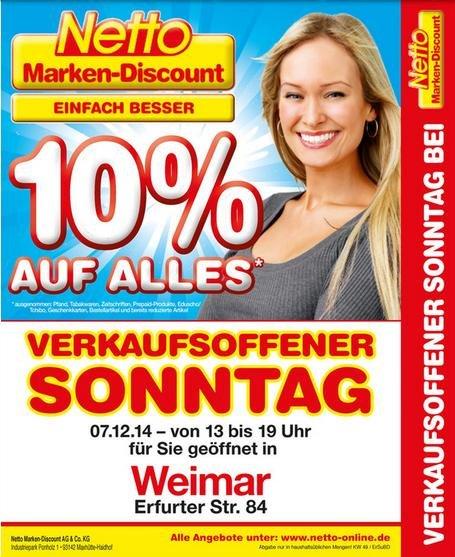 [Netto] Verkaufsoffener Sonntag in Weimar am 7.12. – 10% auf alles