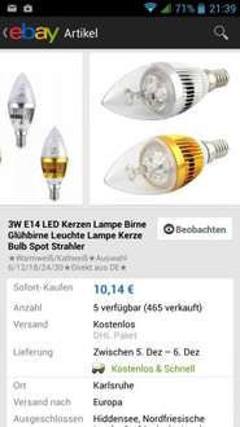 6 LED E14 Kerzen 3w mit 270 lm