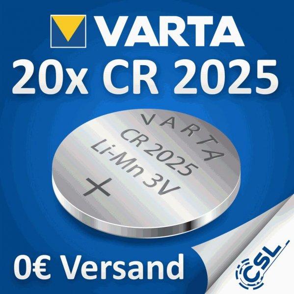 20x VARTA CR2025 Lithium Knopfzelle 3 V , 165 mAh , VSK-frei , 4,89 €