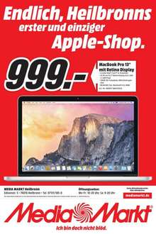 Media Markt Heilbronn Mac Book Pro 13 Zoll mit Retina Display 999€ Idealo ab 1109€