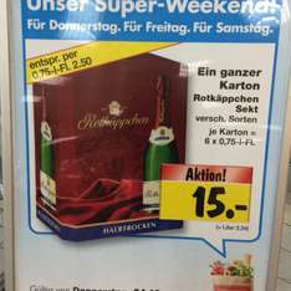 Rotkäppchen 6er Karton für 15 Euro (Einzelpreis 0,75l Flasche 2,50 Euro) bei Kaufland in Berlin (eventuell bundesweit)