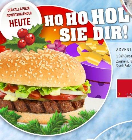 Call a Pizza Adventskalender - heute CaP Burger 1€ in allen Liefergebieten DE Online / Offline [LOKAL]