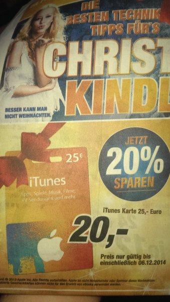 25 Euro iTunes Guthaben für 20 Euro -  Saturn