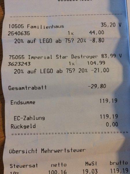 [Lokal Wildau A10 Center] MyToys 20% auf Lego ab 75 EUR z.B. Lego Sternenzerstörer 75055 für 83,99 EUR