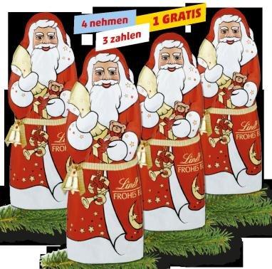 LINDT Weihnachtsmänner*  4 nehmen, 3 zahlen, 1 Gratis für 7,17 € - Penny