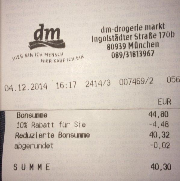 [Lokal] 10% Neueröffnungsrabatt auf alles* bei DM München Ingolstädterstr. 170B