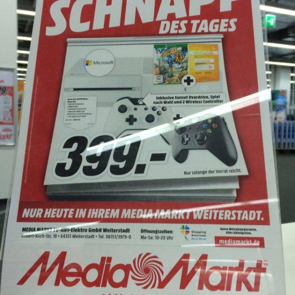 Lokal Mediamarkt weiterstadt - XBOX one weiß incl 2controller; 3 Monate Xbox Live; Sunset Overdrive; zusätzlich Spiel nach Wahl!