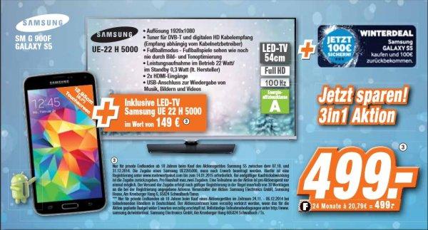 [Bundesweit] 3in1 Aktion bei Expert - Samsung Galaxy S5 + Samsung UE 22 H 5000 + 100 € Cashback