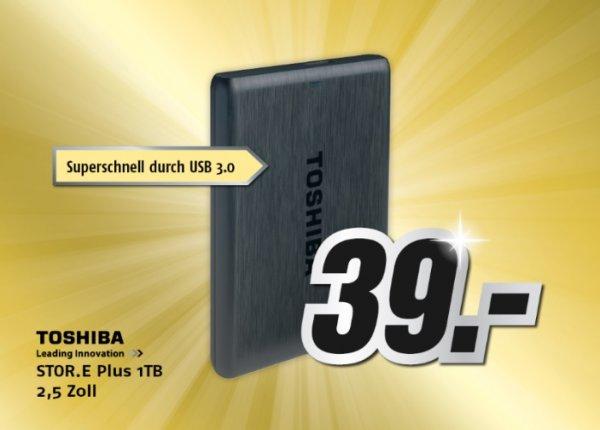 Toshiba STOR.E Plus 1TB 2,5 Zoll USB3.0 externe Festplatte Gera MediMax (lokal) 39 Euro NUR 06.12.