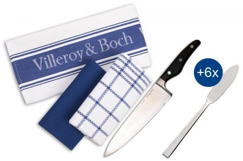 Villeroy & Boch Küchenhandtücher + Kochmesser + Fischmesser (10-teiliges Set) @Ebay