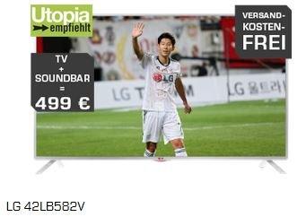 LG Aktions-Bundle: LG 42LB582V (42 Zoll LED-TV) + LG NB300 Soundbar für 499 € versandkostenfrei [@saturn.de]
