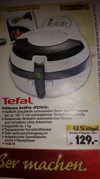 [Kaufland BW?] Tefal Actifry FZ 7010 129 Euro