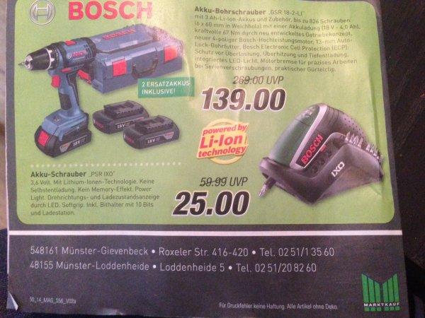 "[LOKAL?] [MARKTKAUF) Bosch Akku-Bohrschrauber ""GSR 18-2 LI"" 3 Akkus + L-BOXX"