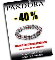 Lokal Kiel: Pandora Schmuck 40 % - Räumungsverkauf