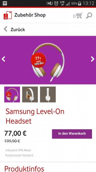 Samsung Level-On (EO-OG900B) Headset @ Vodafone Zubehör App für 77€