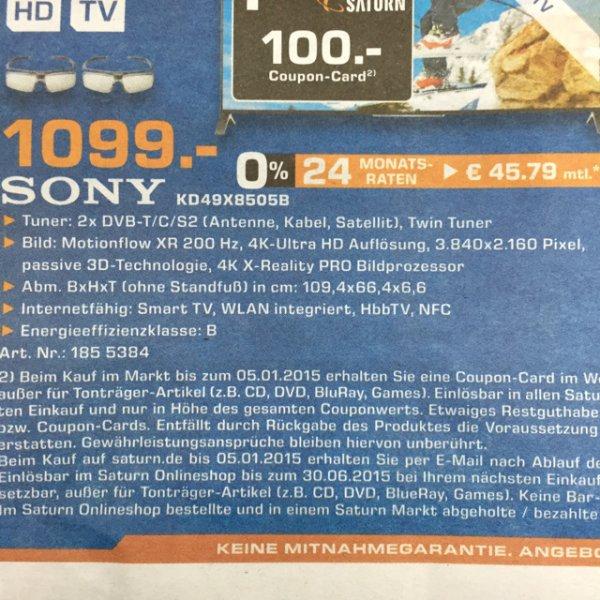 [Saturn Göttingen] Sony KD- 49x8505 BBAEP