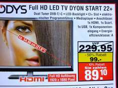 Odys Full HD LED TV DYON START 22+    (Lokale Aktion)