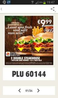 [Burger King] 2 Double Steakhouse Burger + Pommes + 0, 4er Getränk