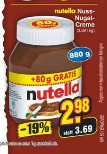 [Lokal] Nutella 880g für 2,98€ bei Netto (ohne Hund)
