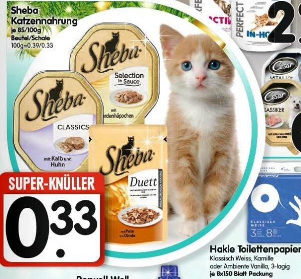[verwöhnte Pussys] Sheba Katzennahrung 85/100g Schalen für 0,33€ @ Edeka Süd