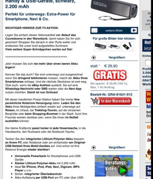 Pearl power Bank 2200 mAH gratis, nur 4,90 Euro Versand