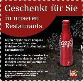 Coca Cola Aluminium Sammelflasche gratis bei LeBuffet
