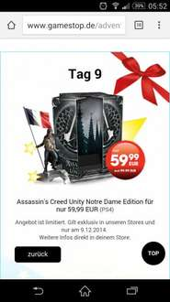 Assassins Creed Unity Notre Dame Edition PS4 59,99 € nur heute bei gamestop.