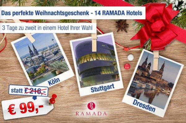 Ramada Gutscheine (für 14 Hotels) - 2 Übernachtungen + Frühstück für 2 Personen für 84€