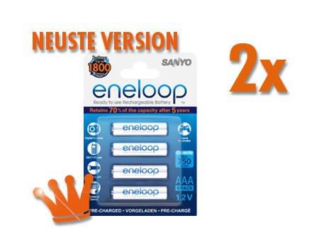 [meinpaket.de] 8x Sanyo eneloop Akku NiMH Micro AAA 800mAh -4UTGB neuste Version für 12,49EUR