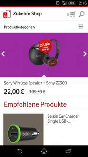 Vodafone Zubehör Shop App Wireless Speaker + ZX300 Kopfhörer von Sony für 22€ inkl. Versand