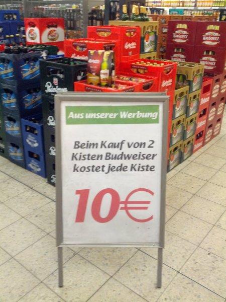 2 × Kisten Budweiser für 20€ Marktkauf