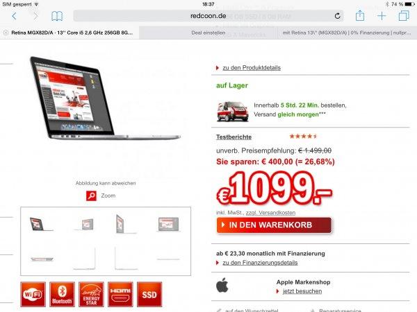 MacBook pro Retina MGX82D/A 8GB Ram 256GB SSD für 1099€ @ redcoon