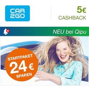 Car2Go 5€ Cashback für kostenlose Registrierung über Qipu