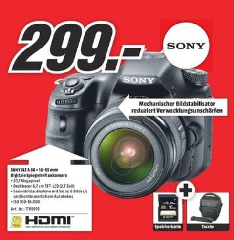 [Lokal MM Esslingen/Sindelfingen/Vaihingen] Sony A58 Kit, 18-55mm Objektiv, Tasche und 16GB SD Karte für 299€