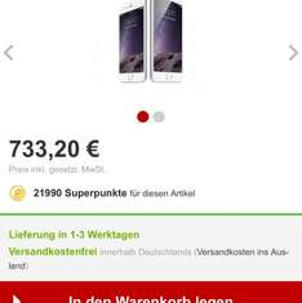 [Rakuten] iPhone 6 16GB Silber für 513,30€ durch 30x Superpunkte